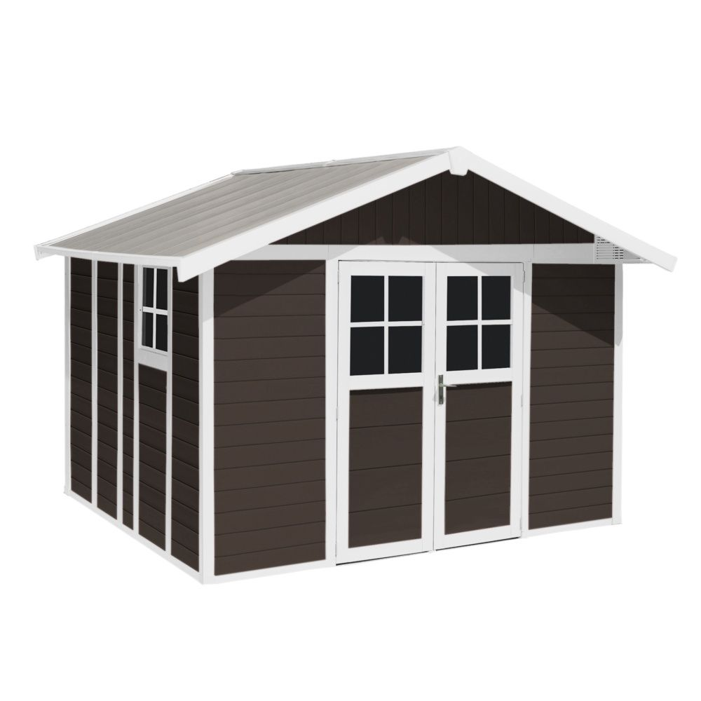abri de jardin r sine grosfillex 7 53 m ep 26 mm deco mocca colis l 80 x l 120 x h 200 cm. Black Bedroom Furniture Sets. Home Design Ideas