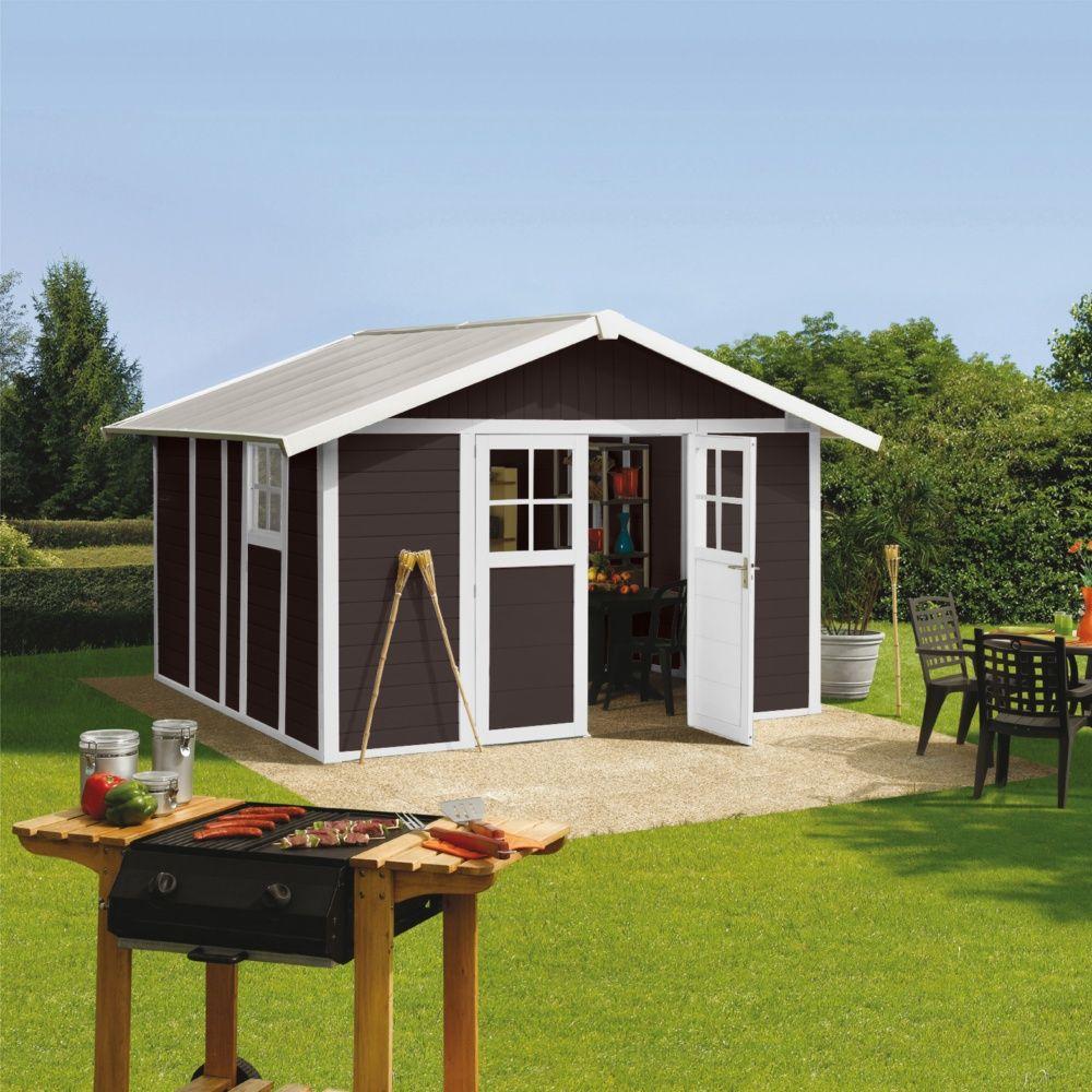Abri de jardin résine Grosfillex 7,53 m² Ep. 26 mm Deco mocca Colis ...