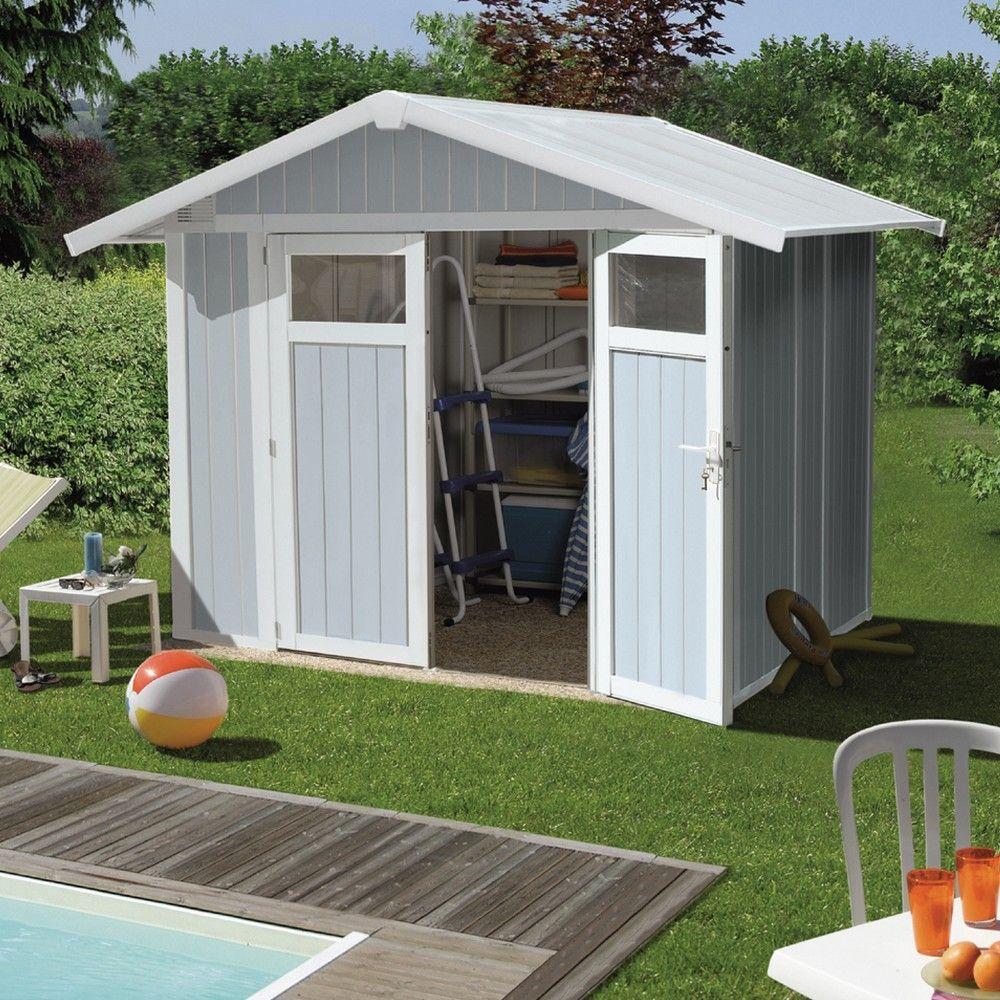 Abri de jardin résine Grosfillex 4,90 m2 Ep.26 mm Utility gris/bleu