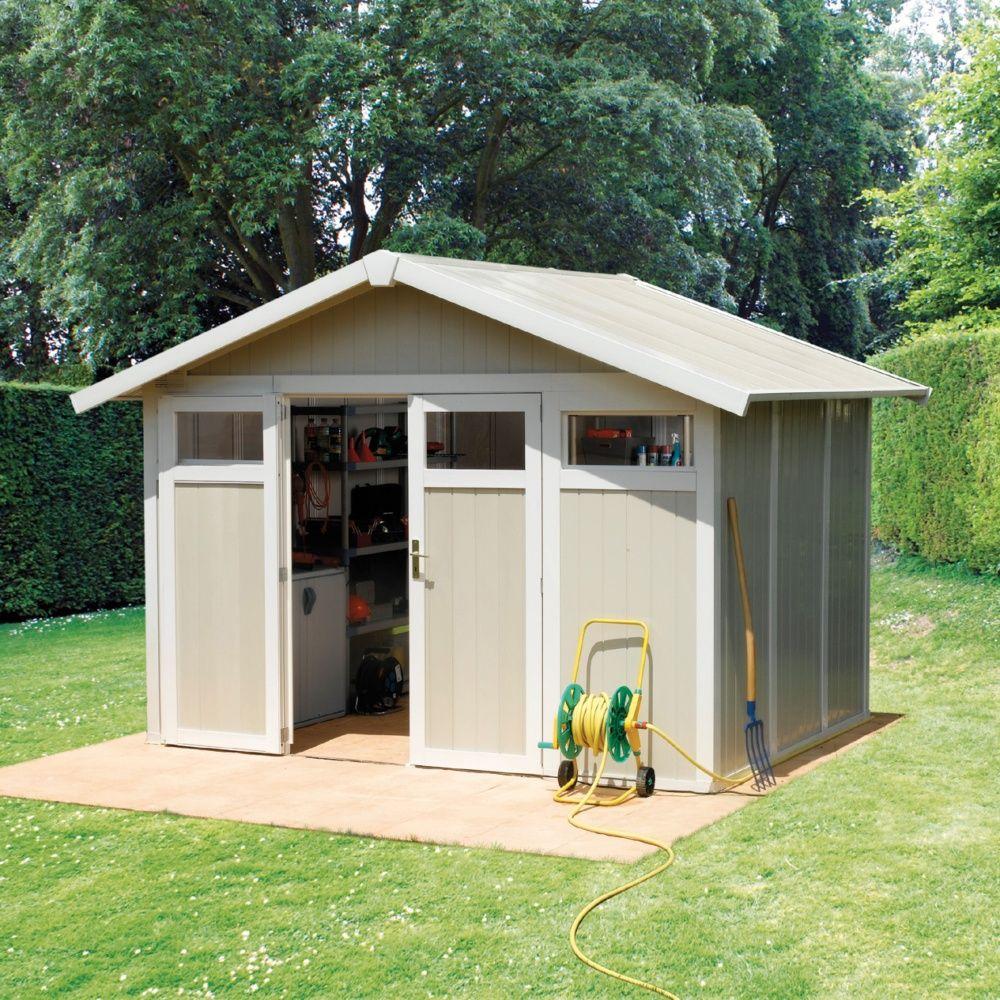abri de jardin r sine grosfillex 7 53 m ep 26 mm utility gris vert colis l 80 x l 120 x h. Black Bedroom Furniture Sets. Home Design Ideas