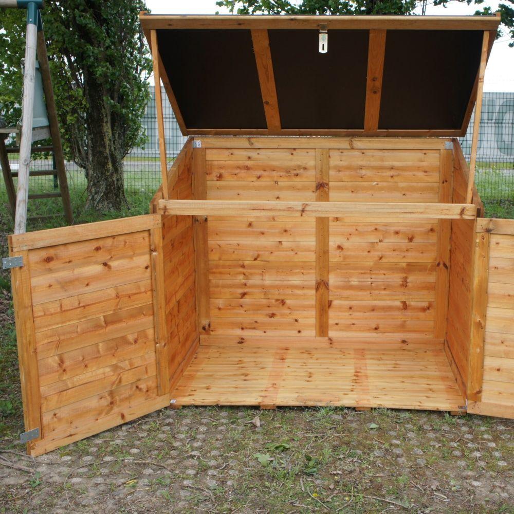 Coffre de jardin bois trait trocad ro 1200l colis Coffre terrasse bois
