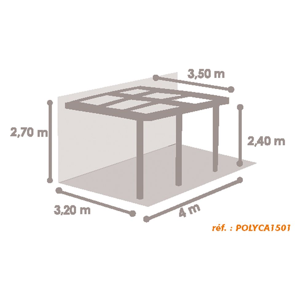 tonnelle adoss e aluminium toit polycarbonate 4x3 5m azura colis tonnelle 346 x 52 x 27 cm. Black Bedroom Furniture Sets. Home Design Ideas