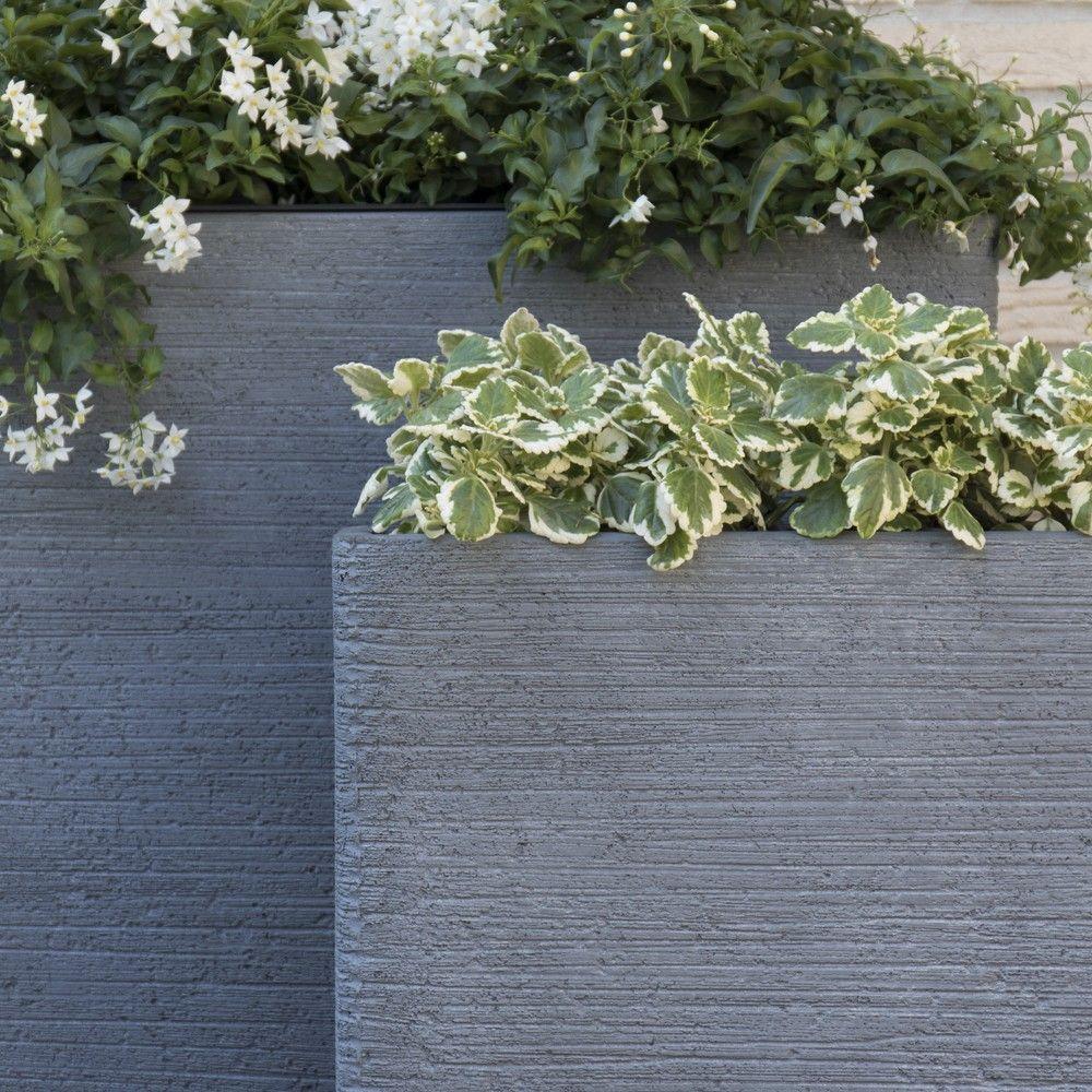 Bac fleurs fibre de terre stri e clayfibre l80 h92 cm gris gamm vert - Jardinieres fibre de terre exterieur ...
