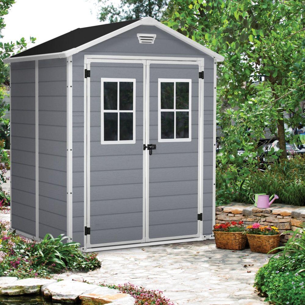 Abri de jardin r sine keter premium 65 gris 2 81 m ep 16 mm 1 colis l 200 x p 113 x h 21 cm - Abri de jardin en resine premium 65 ...
