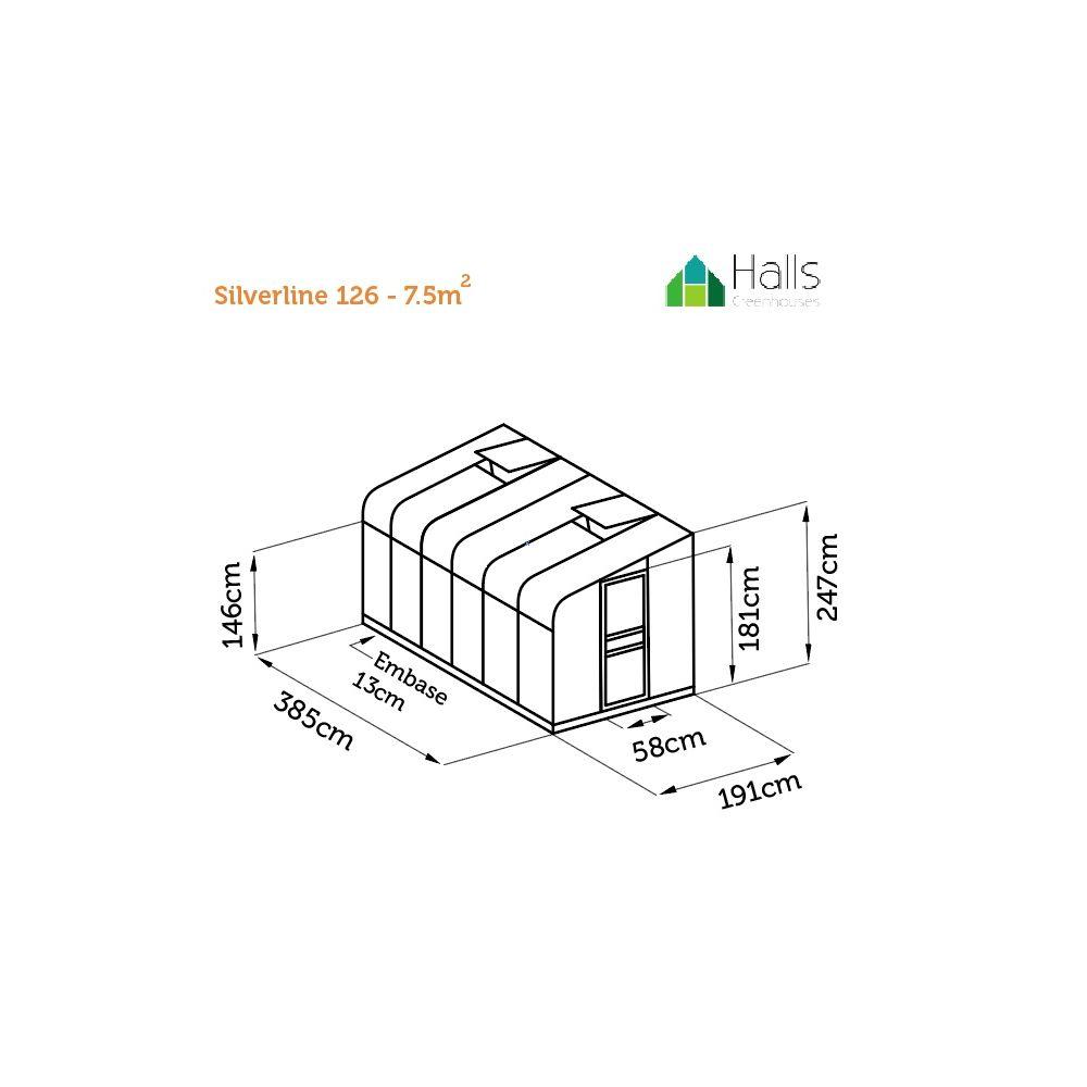 Serre adossée Silverline 7.5 m2 verre trempé – vert + embase – Halls