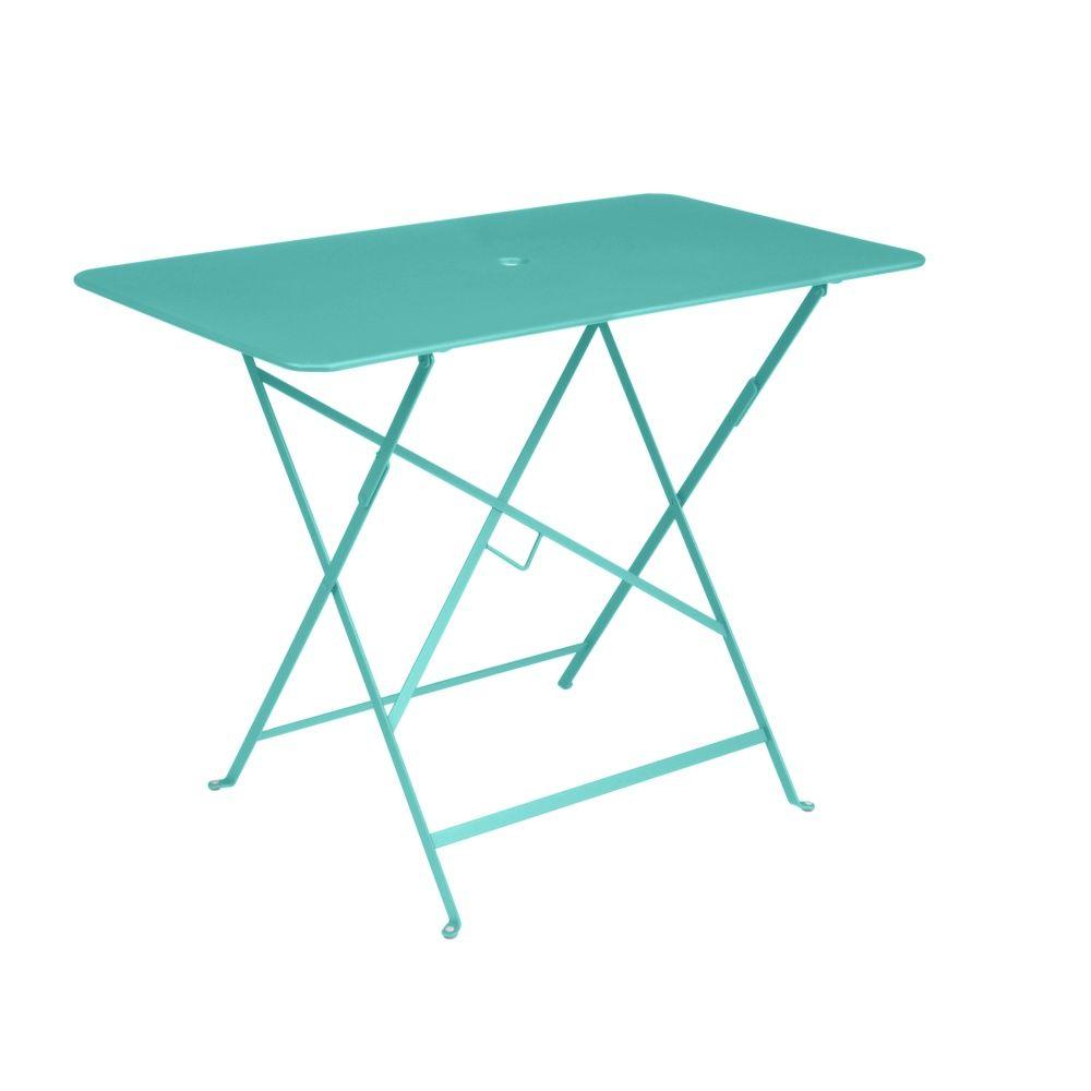 Table Pliante Fermob Bistro Acier L97 L57 Cm Bleu Lagune