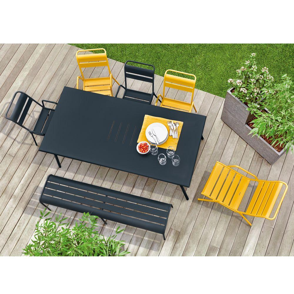 table de jardin fermob monceau acier l194 l94 cm carbone. Black Bedroom Furniture Sets. Home Design Ideas