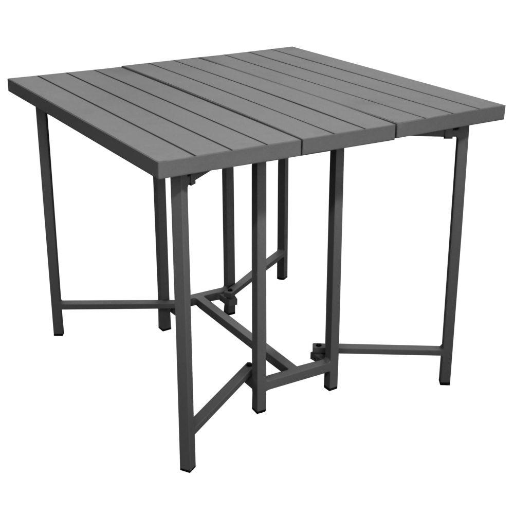 table pliante caly l90 p90 cm aluminium gris carton 93 x35 x 77 cm gamm vert. Black Bedroom Furniture Sets. Home Design Ideas