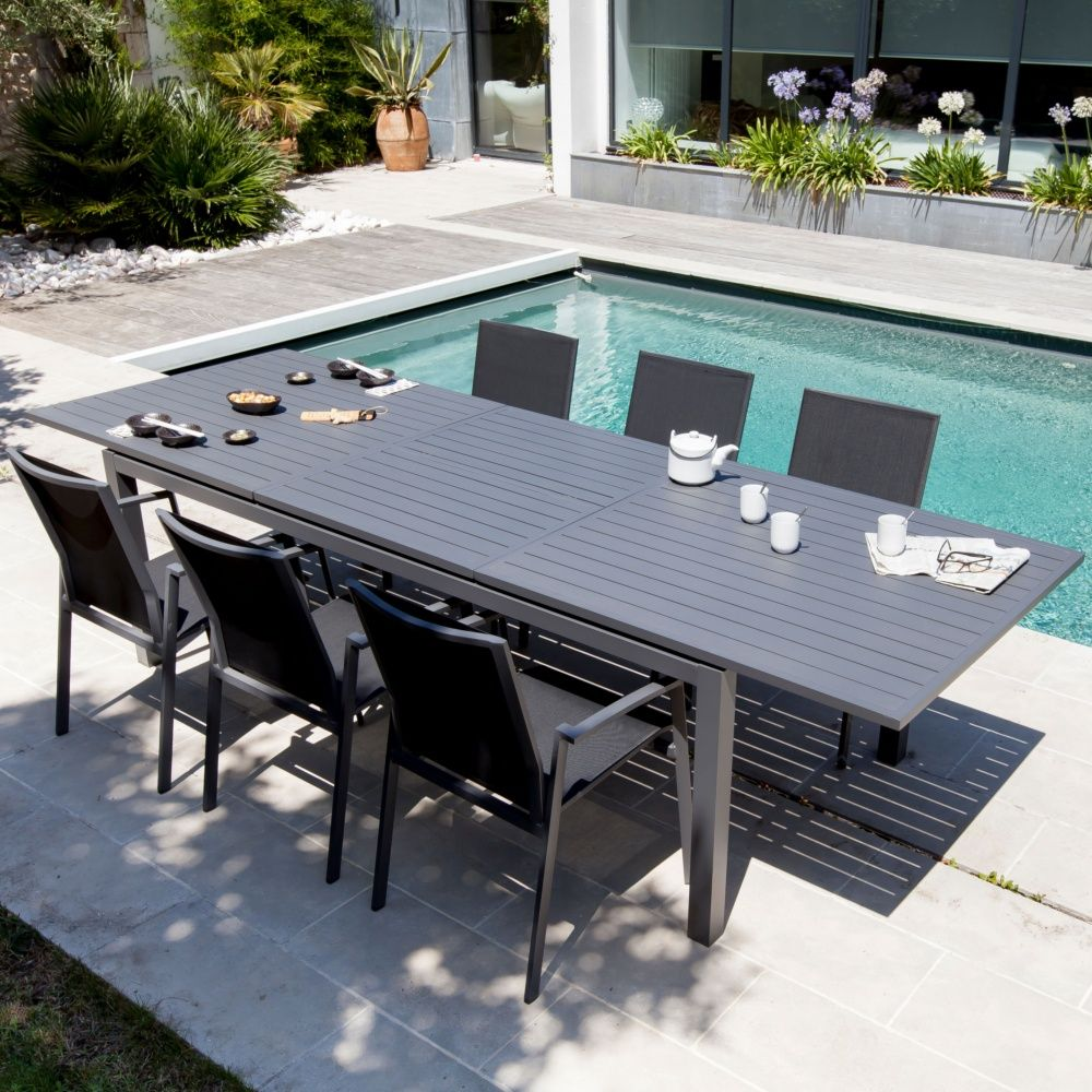 table de jardin trieste aluminium l130 180 l82 cm gris 138. Black Bedroom Furniture Sets. Home Design Ideas