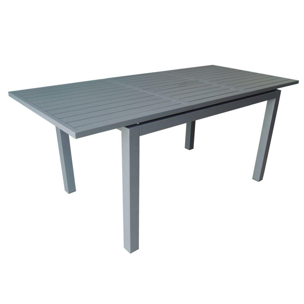 Table de jardin Trieste aluminium l130/180 L82 cm gris 138 x 87 x 14 ...