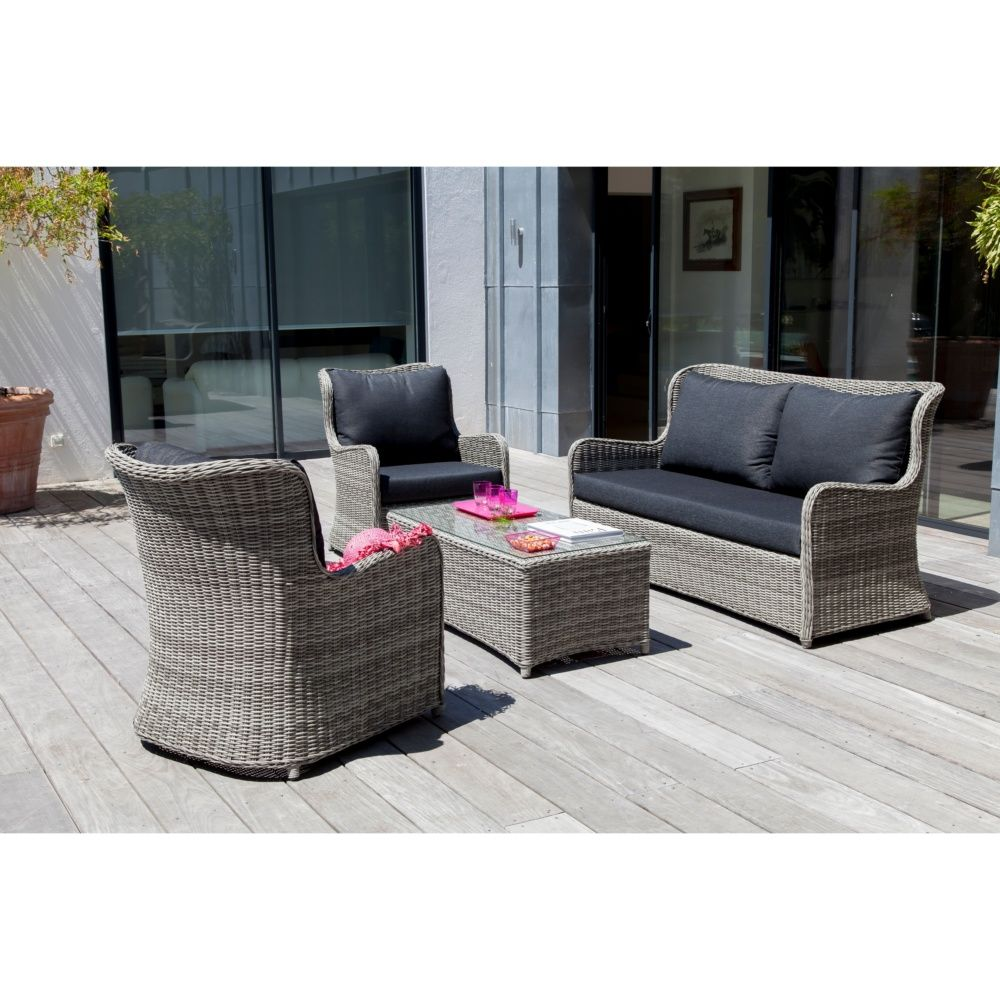 Salon de jardin bas denver gris 2 fauteuils canap for Salon de jardin fly