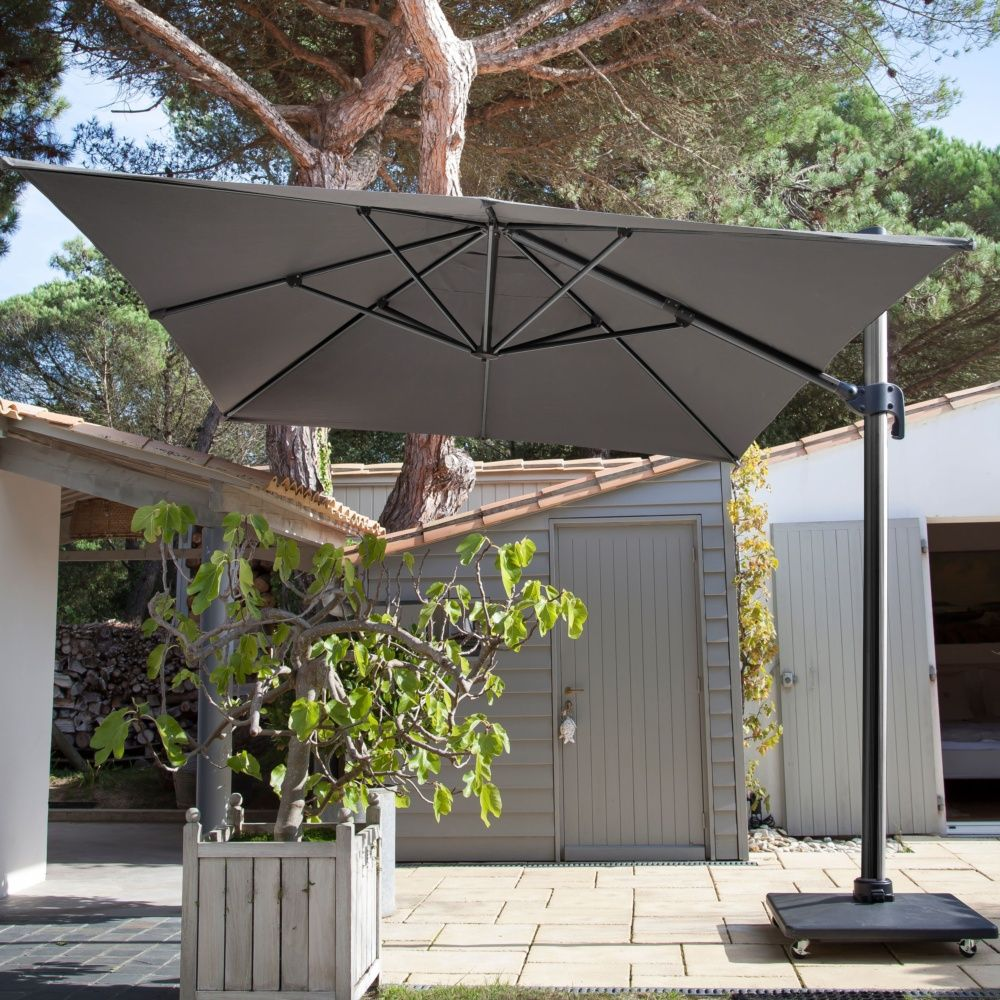 parasol d port inclinable aluminum 3x4 m gris carton. Black Bedroom Furniture Sets. Home Design Ideas
