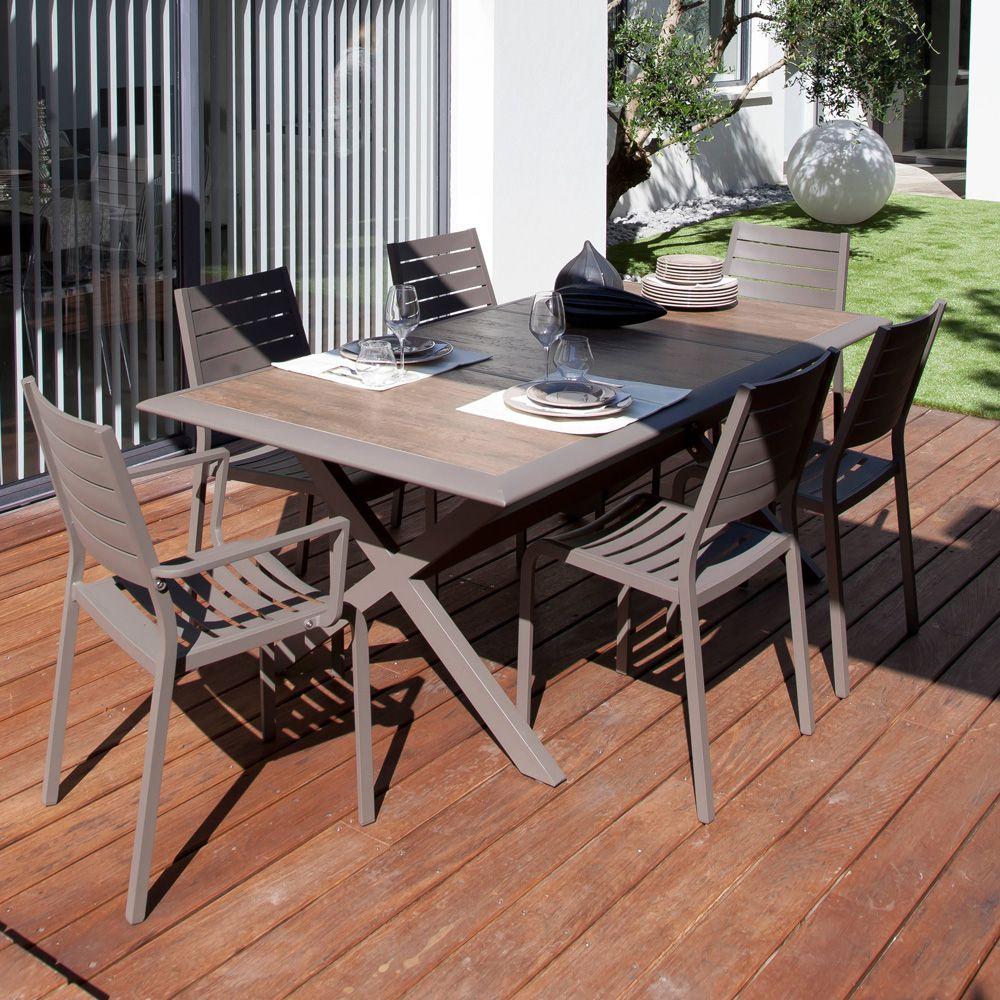 table de jardin ceram aluminium plateau c ramique caf carton 203 x 108 x 11 cm gamm vert. Black Bedroom Furniture Sets. Home Design Ideas