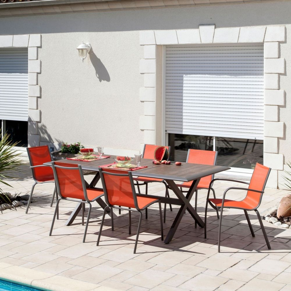 Table de jardin Ceram aluminium/plateau céramique café Carton 203 x ...