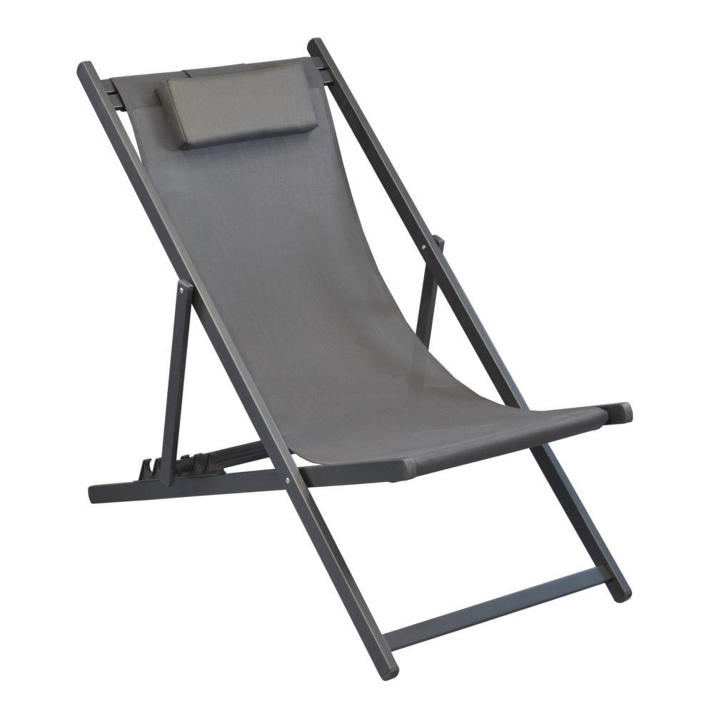 transat pliant linea aluminium textil ne gris carton 129 x 41 x 62 cm gamm vert. Black Bedroom Furniture Sets. Home Design Ideas