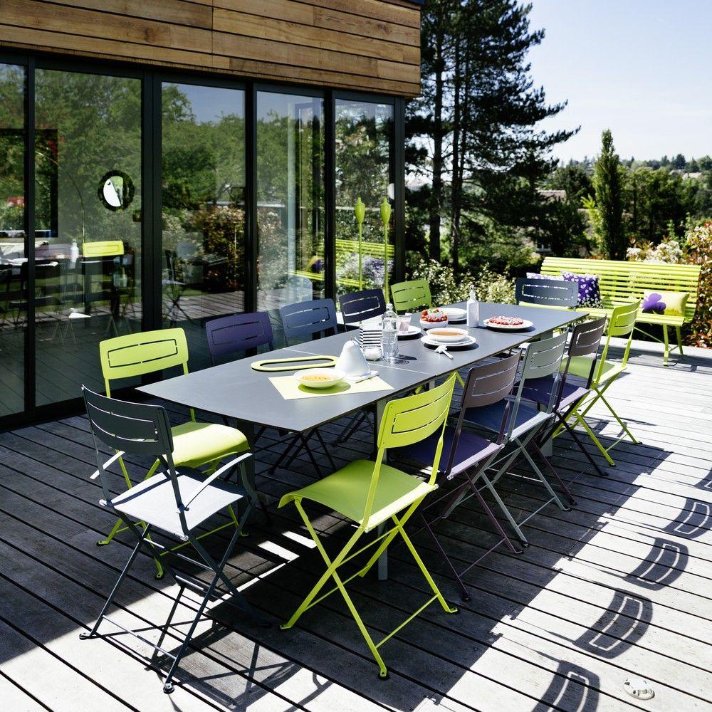 Table à allonge Fermob Slim acier/HPL l185/285 L90 cm gris orage
