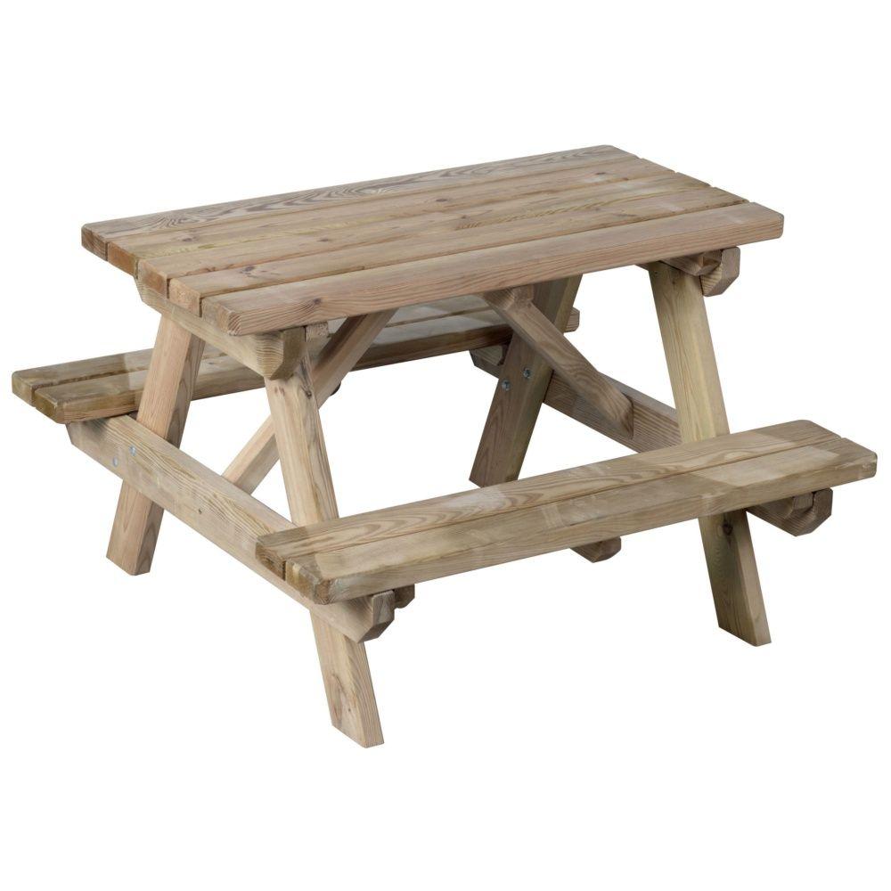 table de pique nique enfant bois livr sur palette de lxlxh 90 x 110 x 65 cm gamm vert. Black Bedroom Furniture Sets. Home Design Ideas