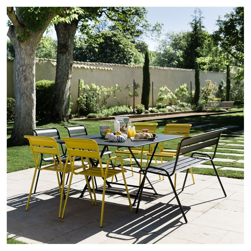 Salon de jardin Fermob Cargo : Table l128 L128 cm + 6 chaises + 1 ...