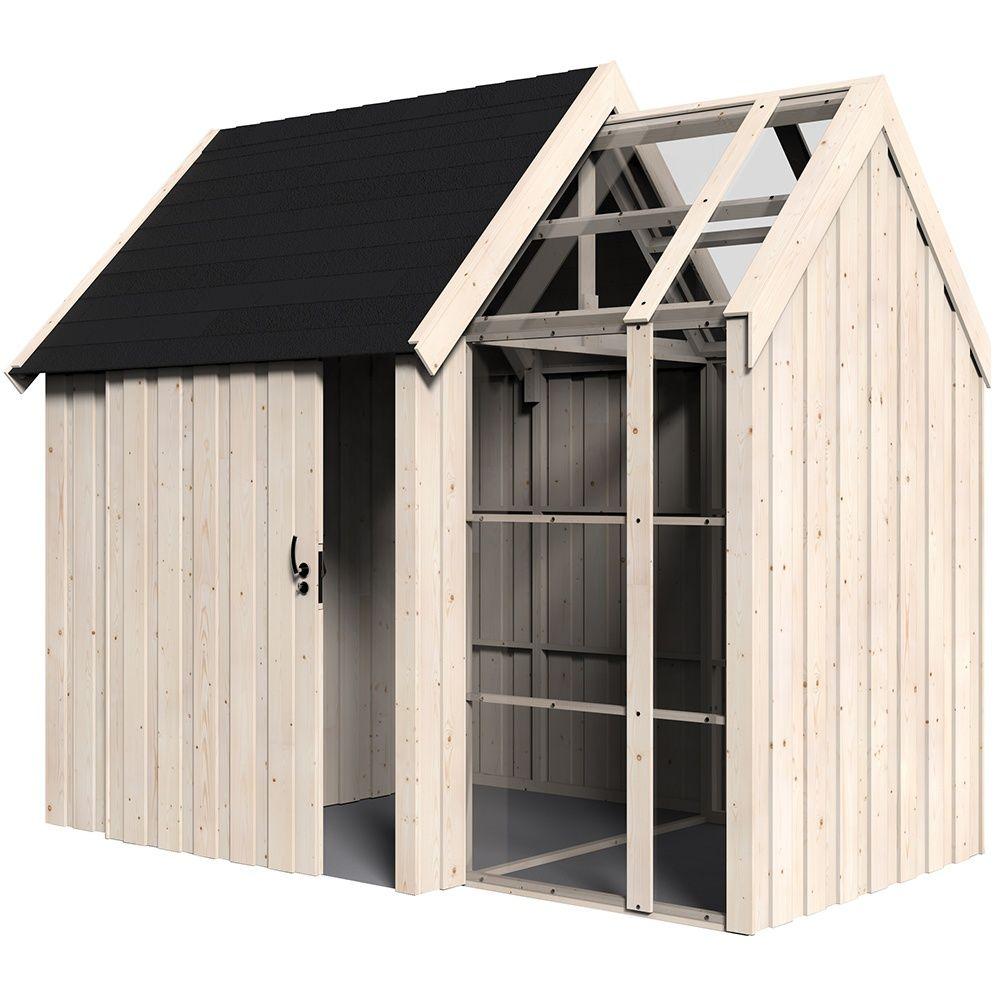 abri de jardin bois vertigo avec serre 7 39 m mm colis x x cm gamm vert. Black Bedroom Furniture Sets. Home Design Ideas