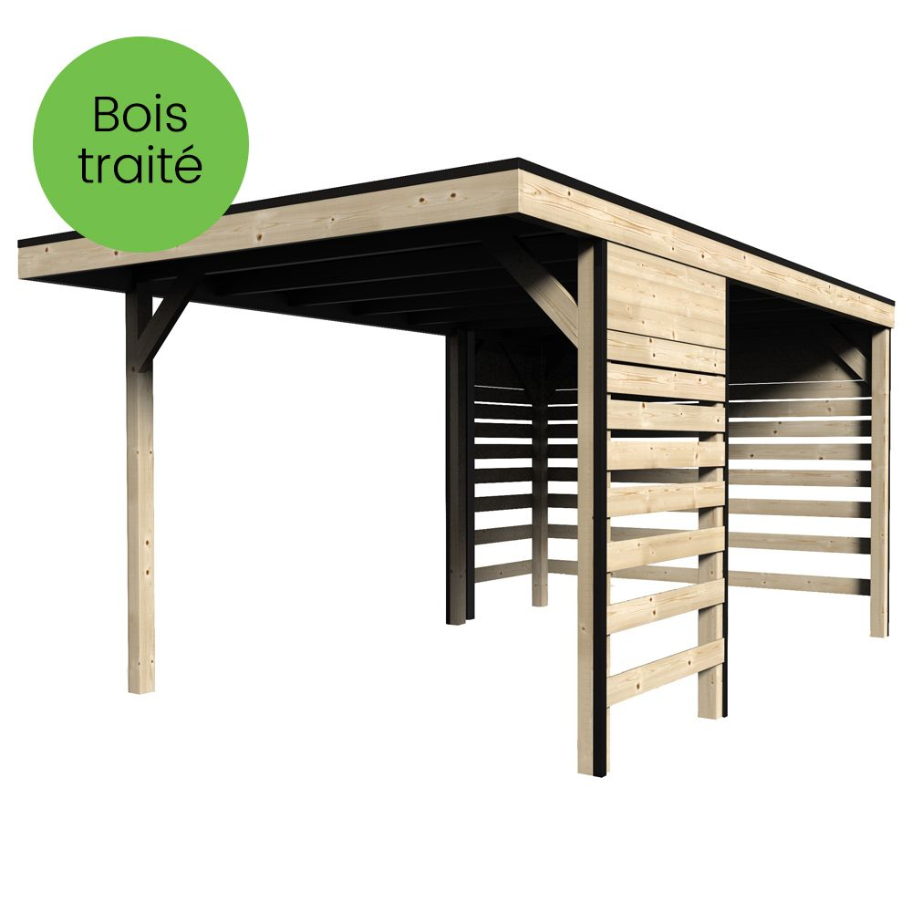carport bois trait autoclave elite 14 59 m dimensions colis l x x m gamm vert. Black Bedroom Furniture Sets. Home Design Ideas