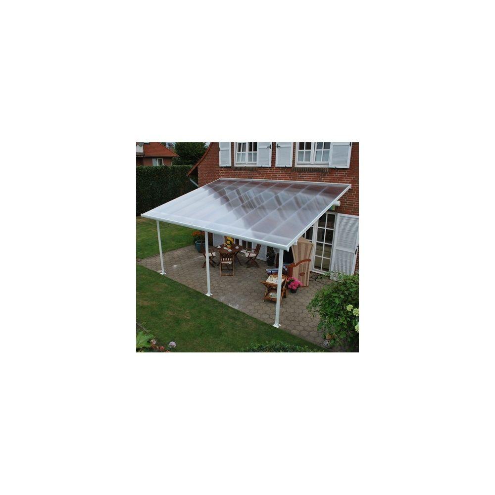 Pergola Toit Terrasse Aluminium Et Polycarbonate 5x3 M Blanc Colis