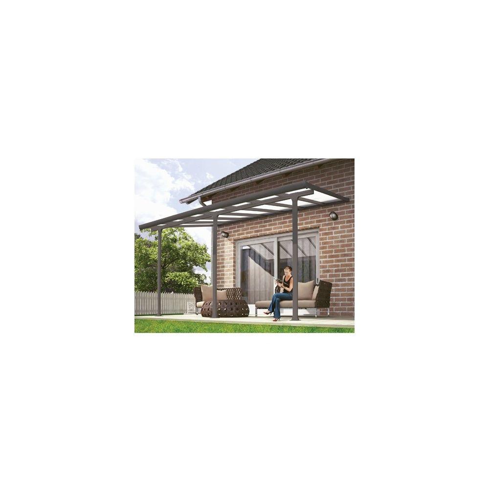 Pergola Toit Terrasse Aluminium Et Polycarbonate 4x3 M Gris Colis