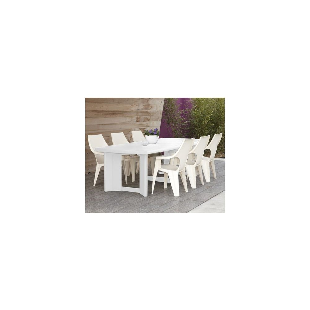 Table New York l260 L105 cm polypropylène blanc 120 x 107 x 26,5 cm ...