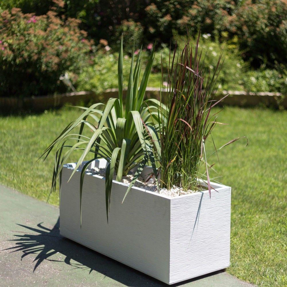 Jardini re graphit plastique l99 5 h43 cm blanc h44 x l40 x l100 cm kg gamm vert - Grande jardiniere en plastique ...