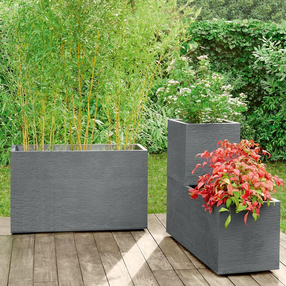 Muret graphit r sine l99 5 h60 cm anthracite h60 x l39 x for Grandes plantes en pot