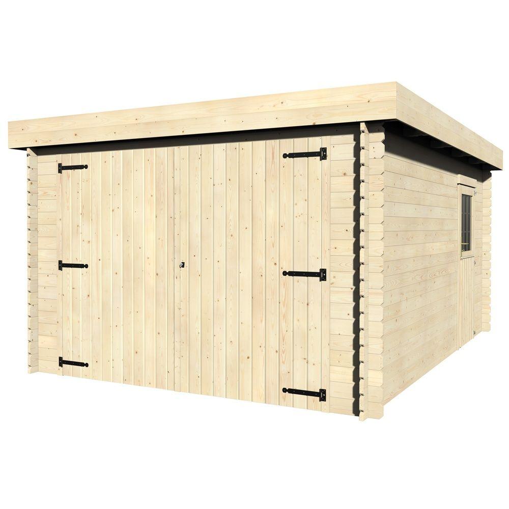 Garage bois galan m ep 28 mm toit plat l480 l120 - Garage bois toit plat ...