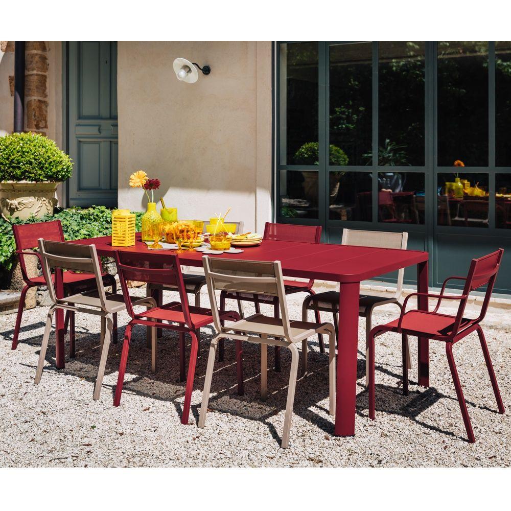Table de jardin Fermob Oléron L205 l100 cm aluminium piment