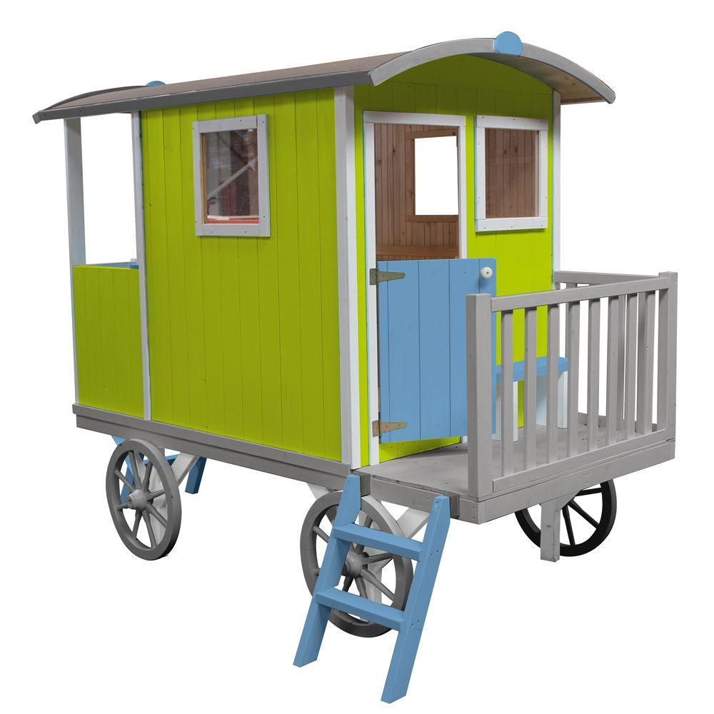 roulotte enfant bois sur pilotis carry 132 x 115 x 50 cm 90 kg gamm vert. Black Bedroom Furniture Sets. Home Design Ideas