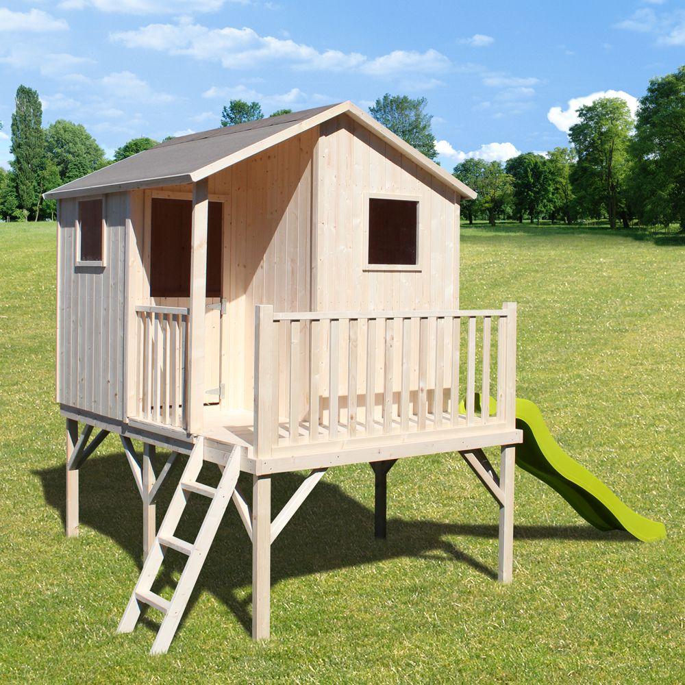 maisonnette enfant bois sixtine sur pilotis avec toboggan 2 colis 200 x 115 x 60 225 kg 176. Black Bedroom Furniture Sets. Home Design Ideas