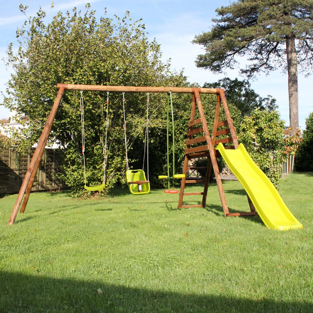 portique bois trait bilbao avec plateforme toboggan l34. Black Bedroom Furniture Sets. Home Design Ideas