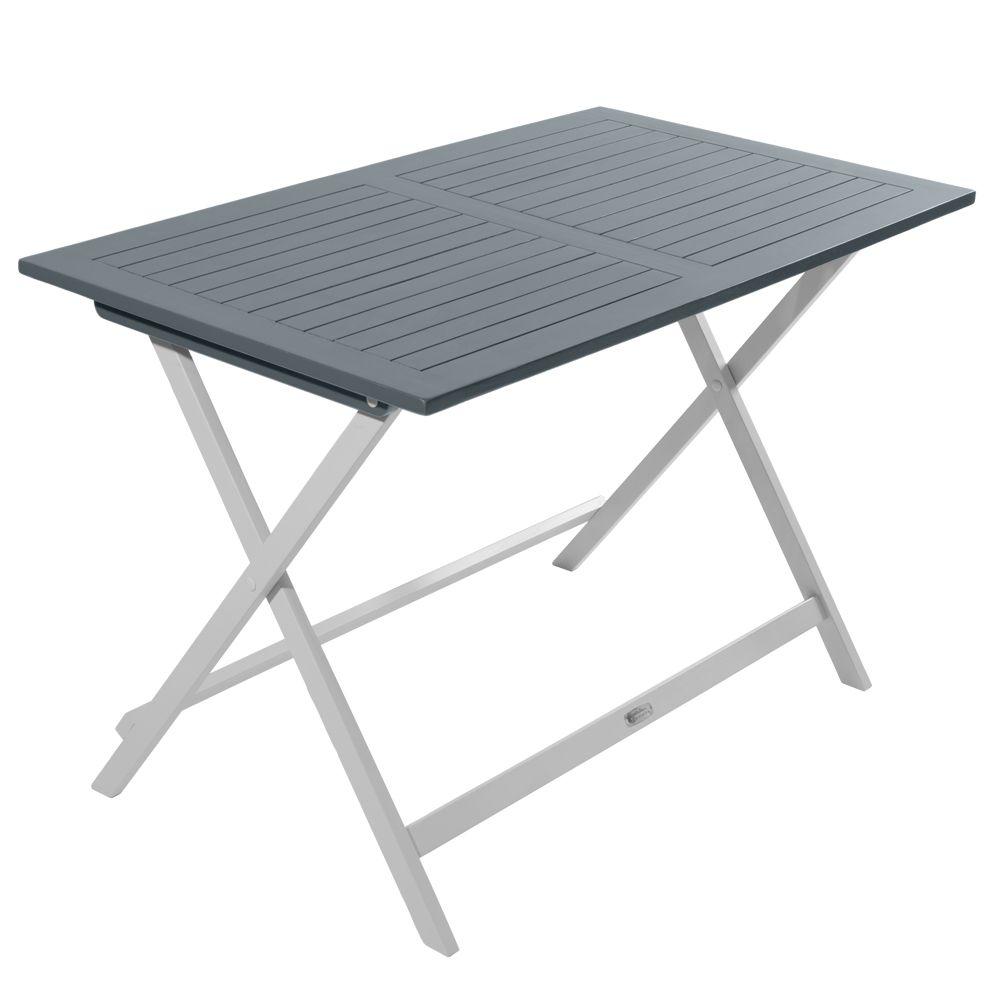 Table pliante City Green Burano bois l113 L65 cm gris H9 x L102 x ...