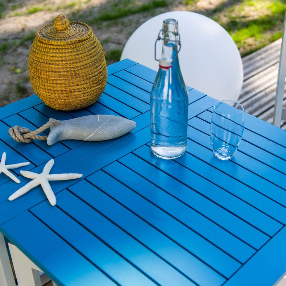 Table console pliante City Green Burano bois l37-135 L65 cm bleu H37 ...