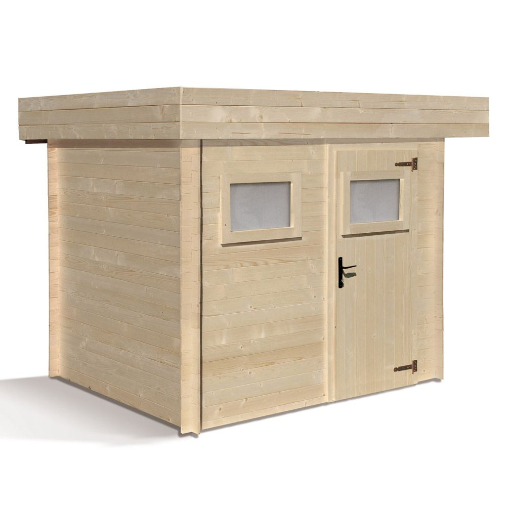 abri de jardin bois 6 32 m ep 19 mm toit plat mikki 120 x 290 x 42 cm gamm vert. Black Bedroom Furniture Sets. Home Design Ideas