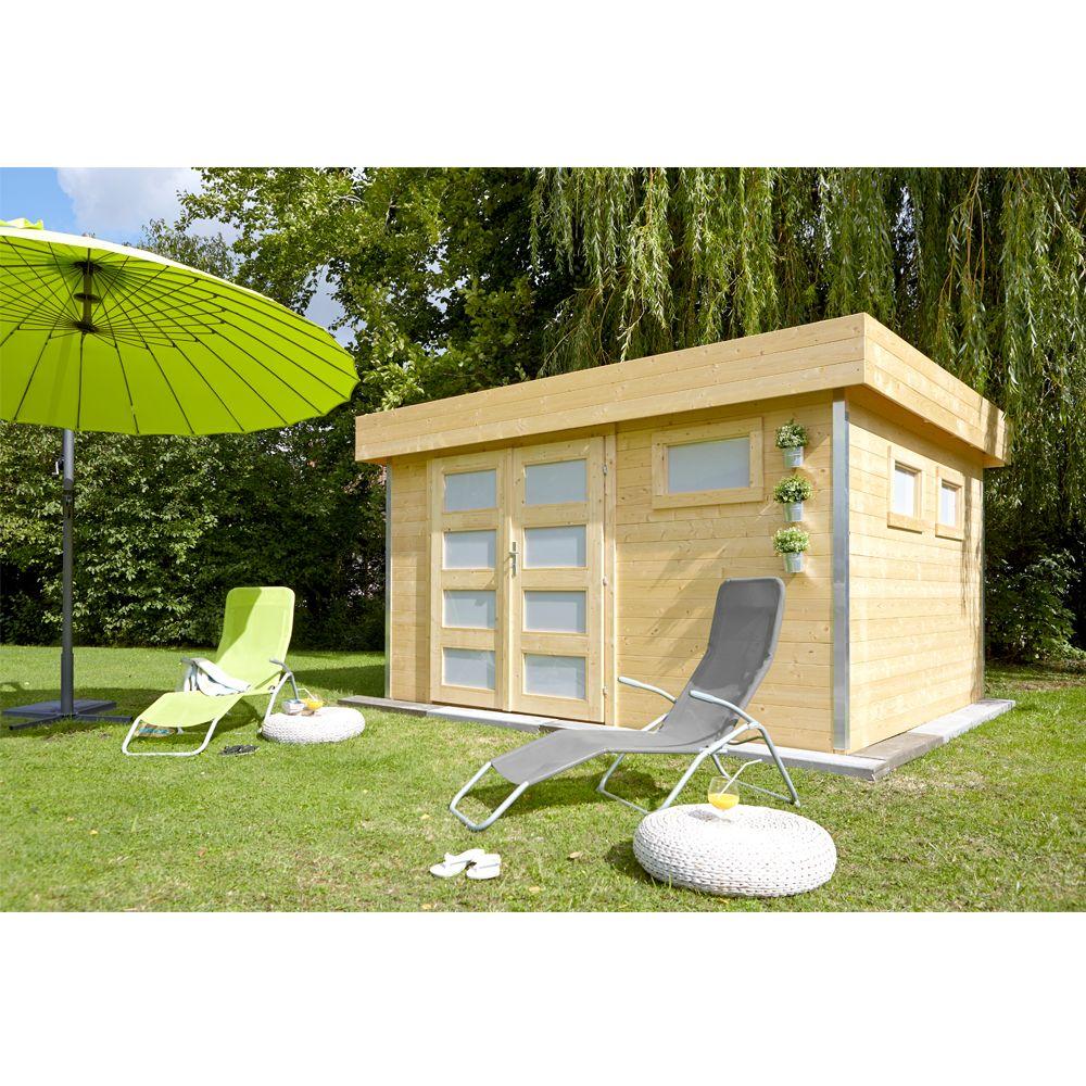 Abri de jardin bois 12 8 m ep 28 mm toit plat comfy 120 for Abri de jardin contemporain bois