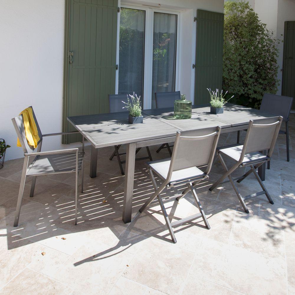 Salon de jardin table trieste l180 240 l102 cm 6 fauteuils thema argent gamm vert - Table jardin mosaique gamm vert ...