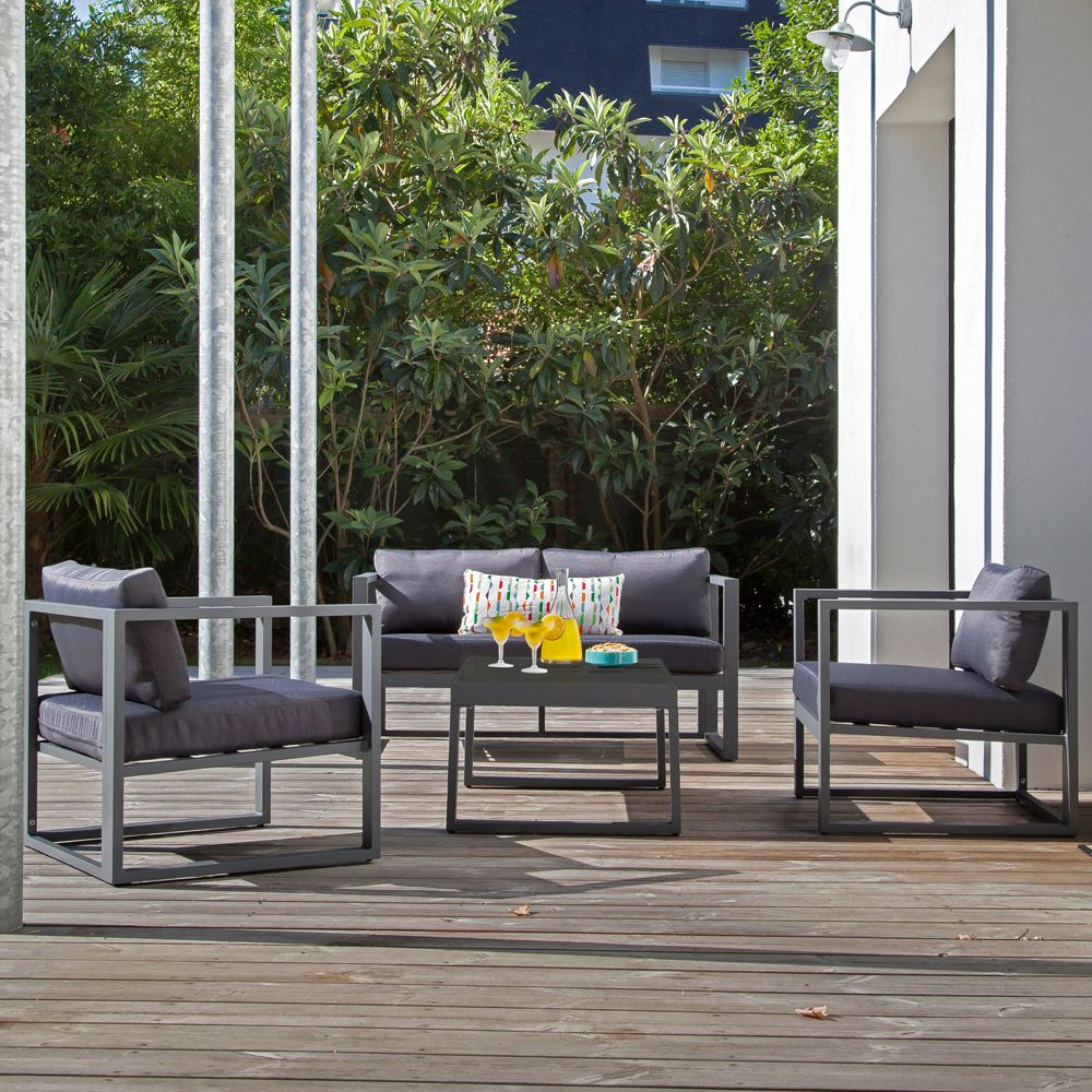 Salon de jardin lounge Manhattan : table basse + 2 Fauteuils gris ...
