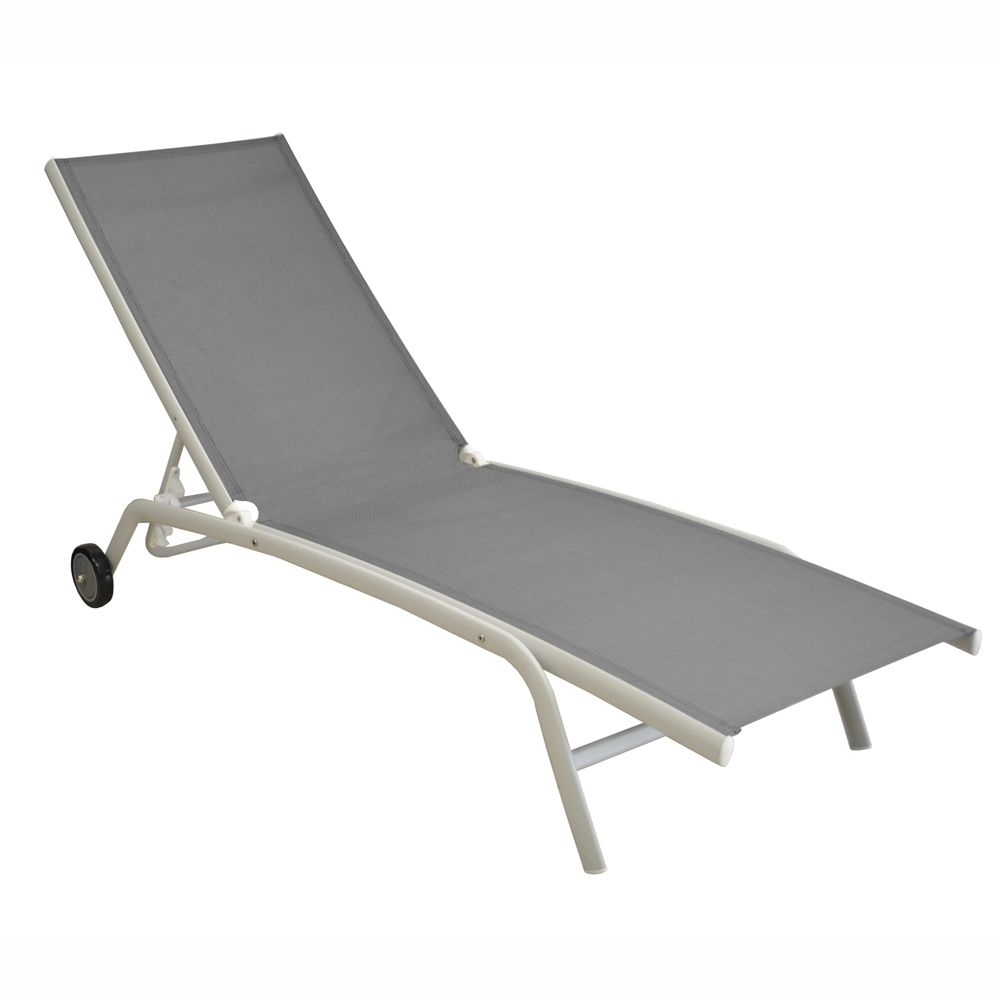 bain de soleil prima aluminium textil ne blanc argent gamm vert. Black Bedroom Furniture Sets. Home Design Ideas