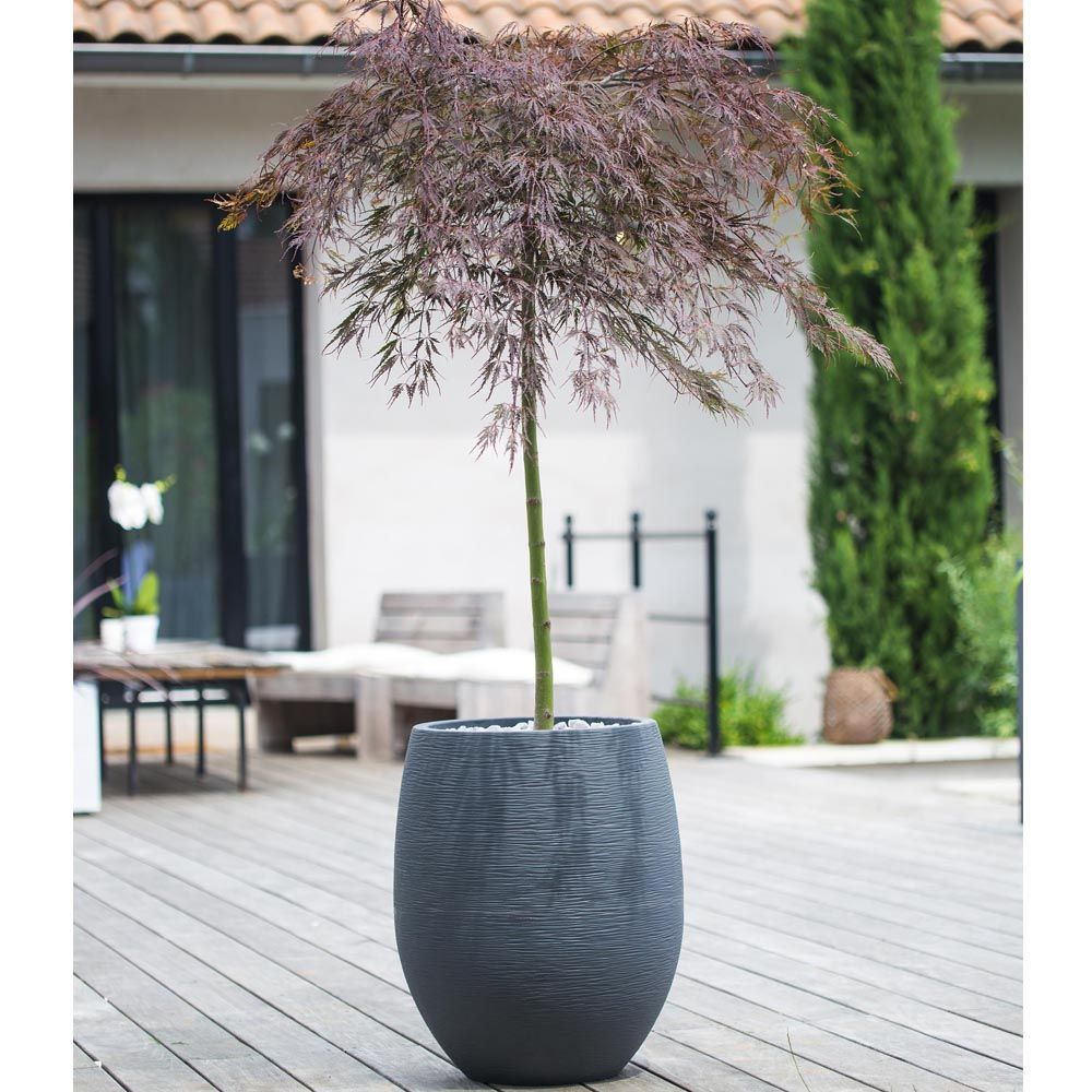 Pot EDA Egg Graphit résine Ø50 H60 cm anthracite
