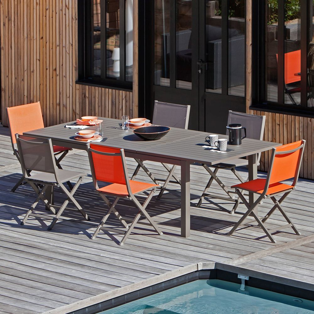 Table de jardin Trieste aluminium l180/240 L100 cm café 188 x 108 x ...
