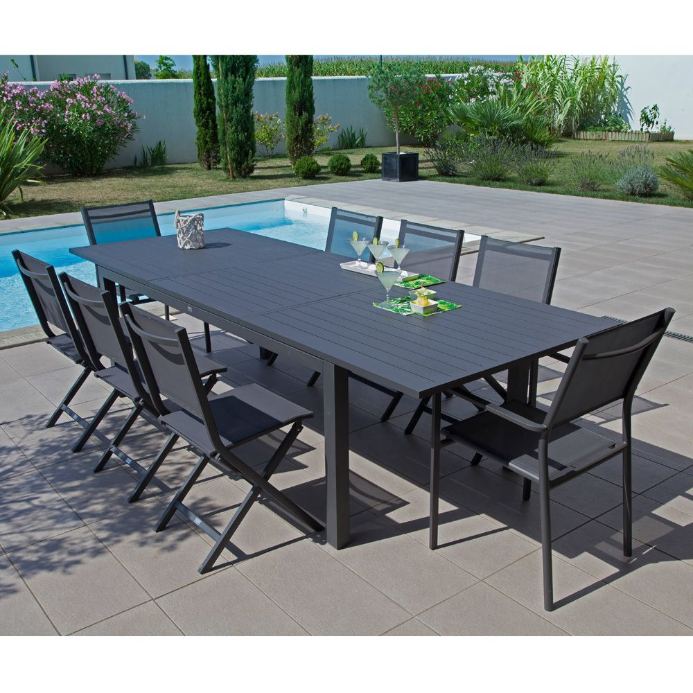 Table de jardin trieste aluminium l200 280 l103 cm gris - Salon de jardin table ...