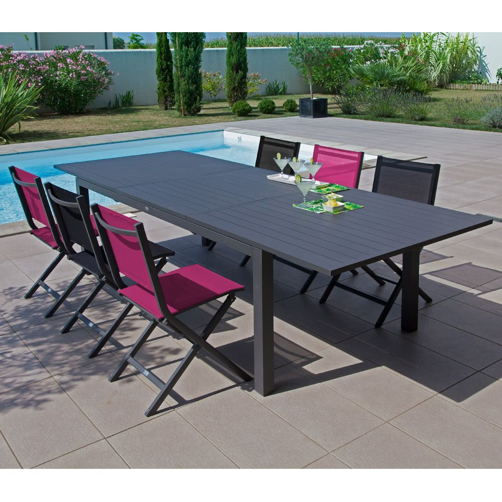 table de jardin trieste aluminium l200 280 l103 cm gris 208 x 110 x 18 cm gamm vert. Black Bedroom Furniture Sets. Home Design Ideas
