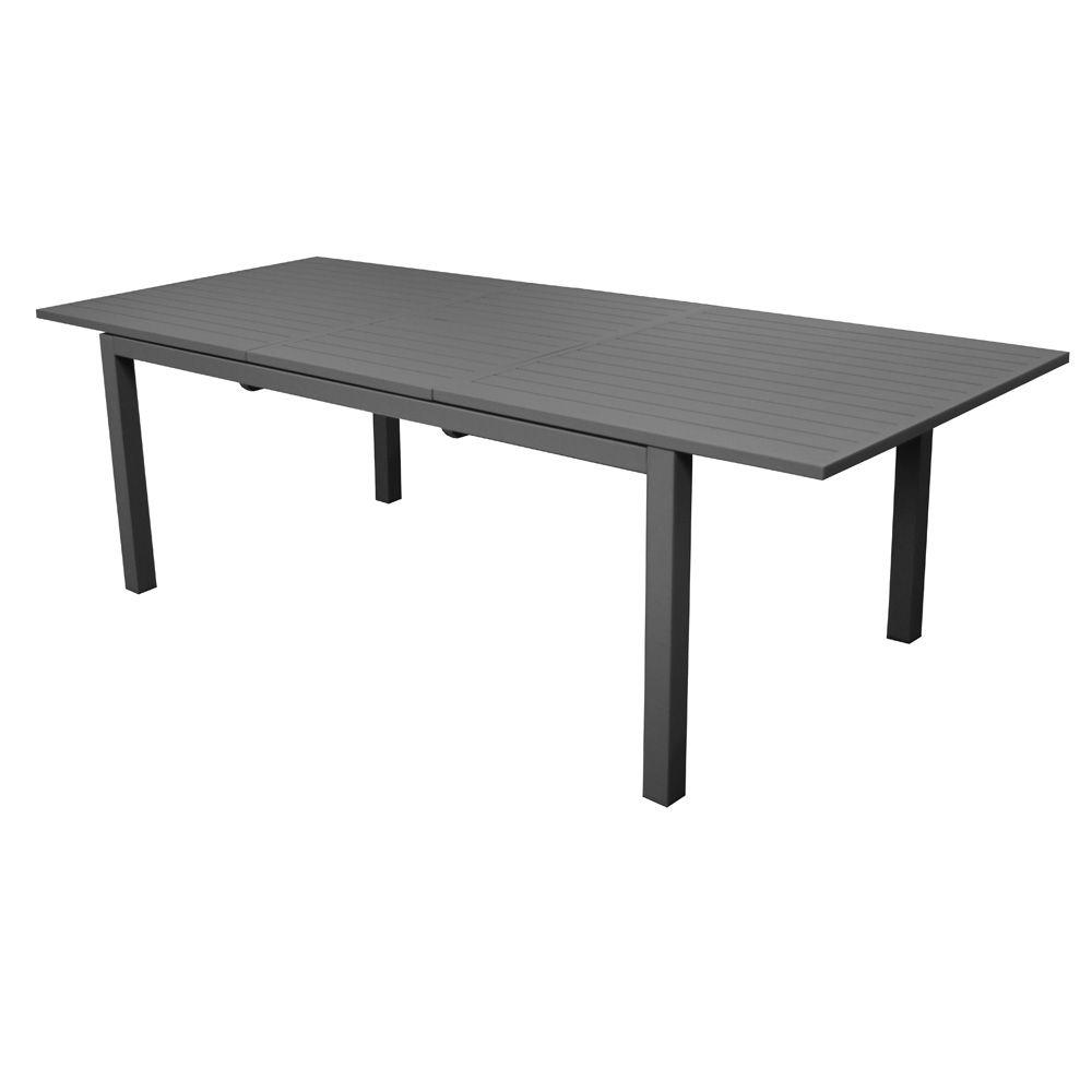 Table de jardin Trieste aluminium l200/280 L103 cm gris 208 x 110 x ...