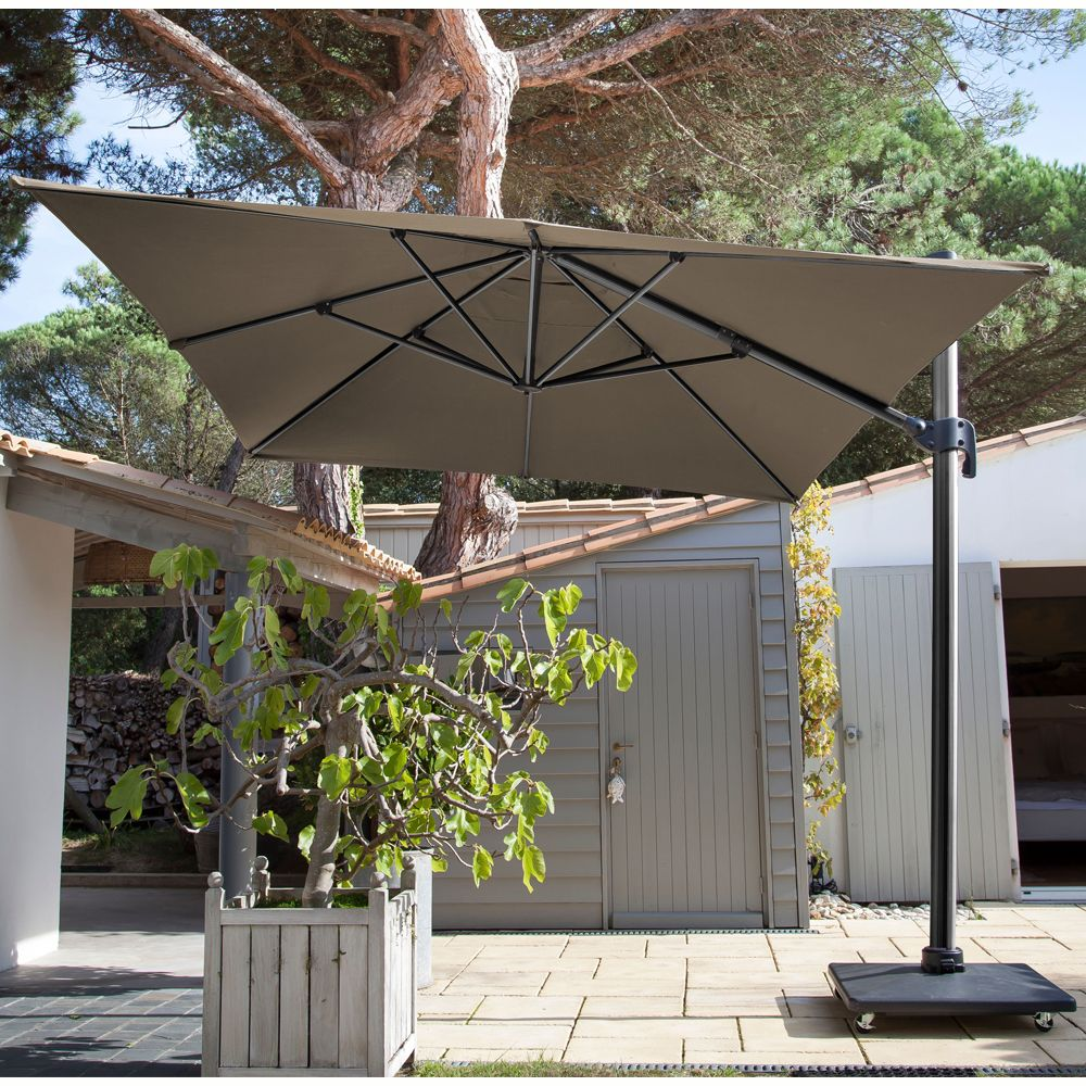 parasol d port inclinable aluminium 3x4 m taupe gamm vert. Black Bedroom Furniture Sets. Home Design Ideas