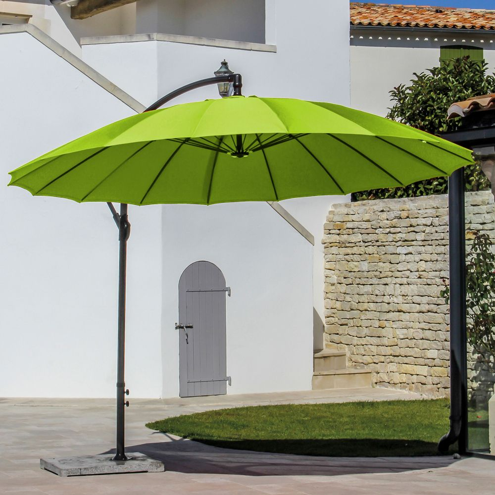 parasol d port inclinable pagode aluminium 300 cm citron. Black Bedroom Furniture Sets. Home Design Ideas
