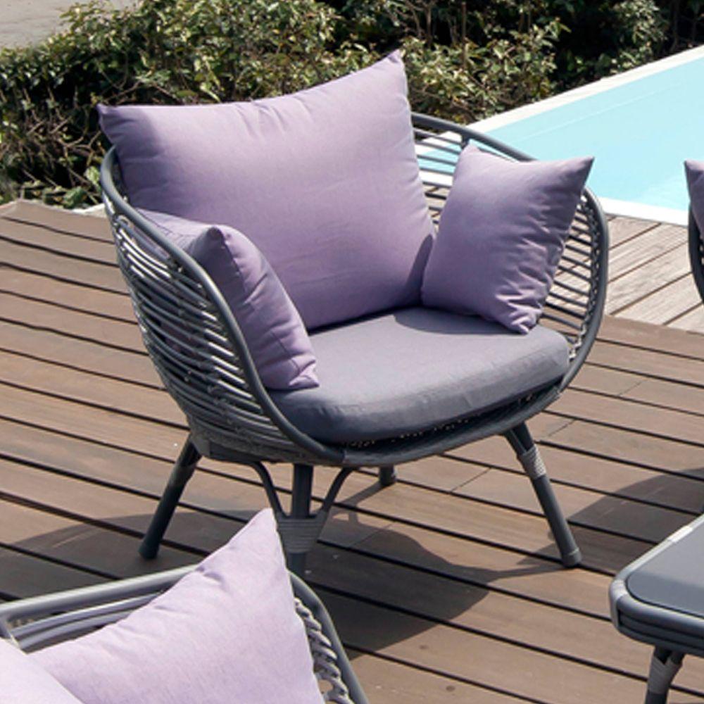 Salon de jardin arguin aluminium r sine table basse 2 fauteuils 1 canap gamm vert for Canape jardin aluminium