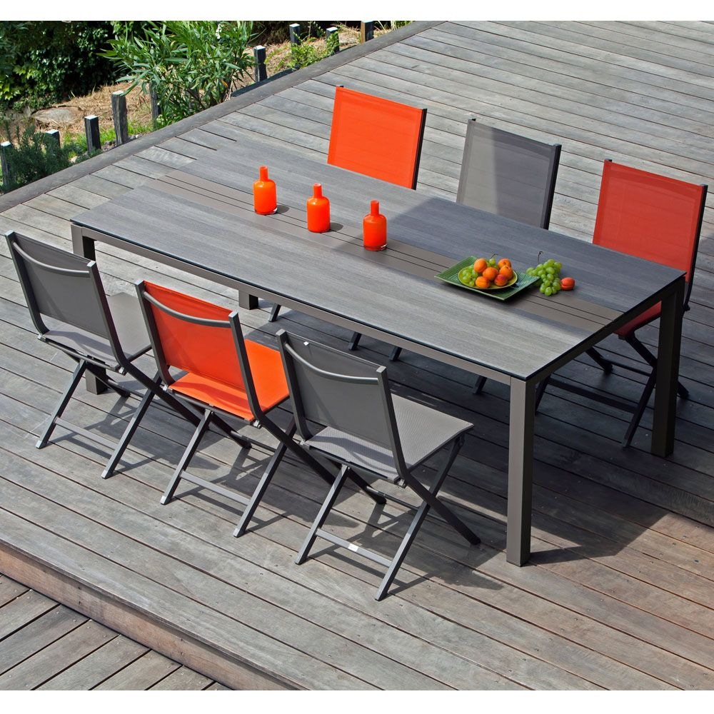 table de jardin gall o aluminium hpl l210 l100 cm caf 213. Black Bedroom Furniture Sets. Home Design Ideas